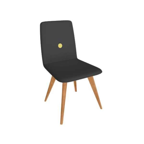 Chaise fabriquée en Italie en synthétique noir et pieds en bois - Nio - 1