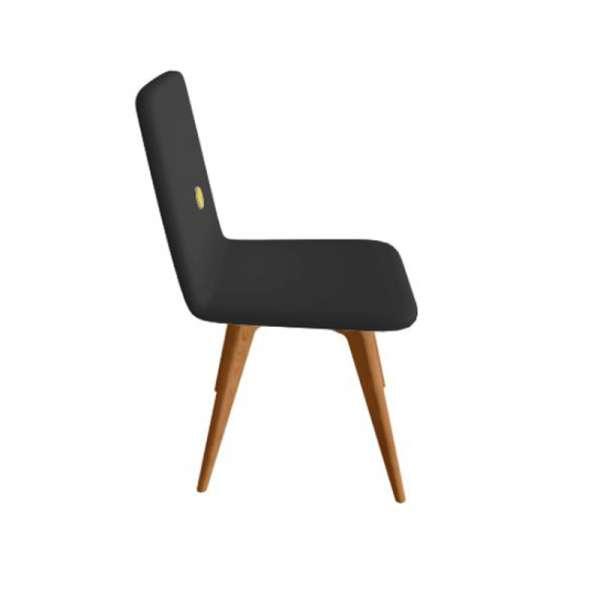 Chaise fabriquée en Italie en synthétique noir et pieds en bois - Nio - 2
