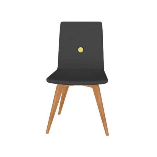 Chaise fabrication italienne en synthétique noir et pieds en bois - Nio - 3
