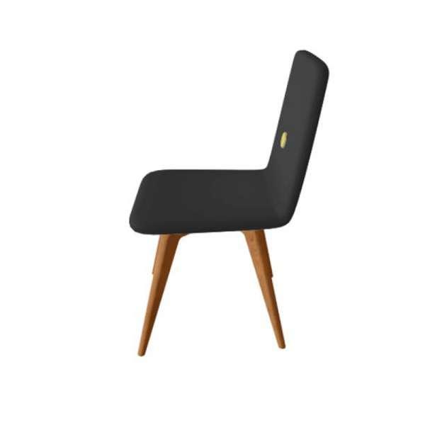Chaise italienne en synthétique noir et pieds en bois - Nio - 4