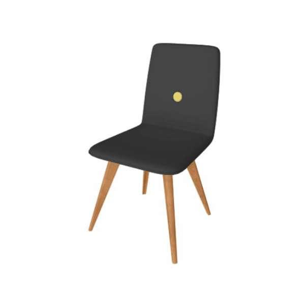 Chaise fabriquée en Italie en synthétique noir et pieds en bois - Nio - 5