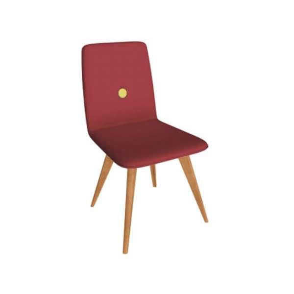 Chaise italienne en synthétique rouge et pieds en bois - Nio - 7