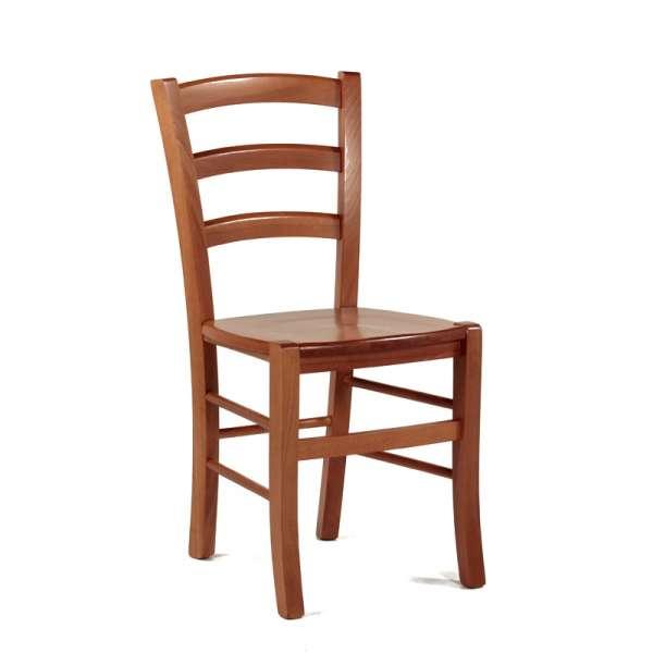 Chaise en bois rustique avec assise bois teintée merisier - Brocéliande - 2