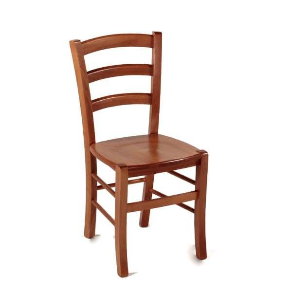Chaise en bois rustique avec assise bois foncée - Brocéliande - 1