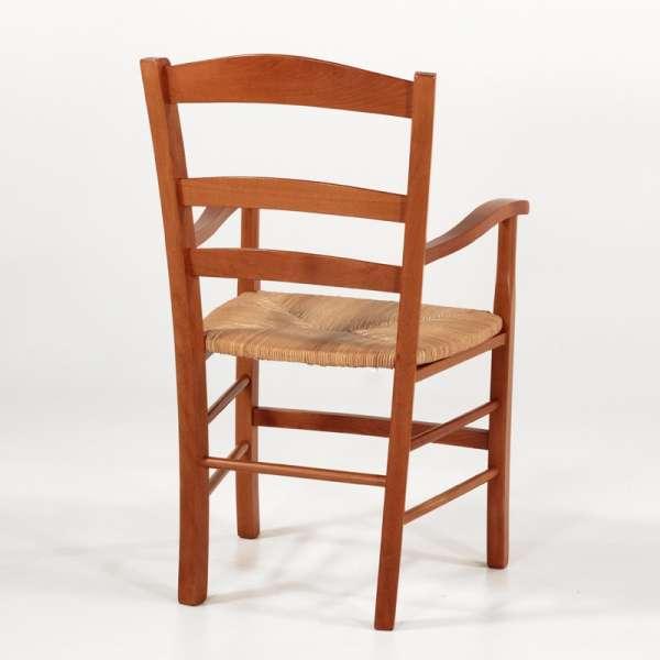Fauteuil en paille et bois massif moyen style campagnard - Brocéliande - 9