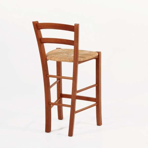 Tabouret snack en bois massif rustique et assise en paille - Brocéliande - 4