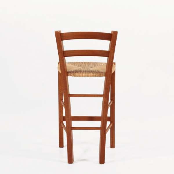 Tabouret snack en bois massif rustique et assise en paille - Brocéliande - 5
