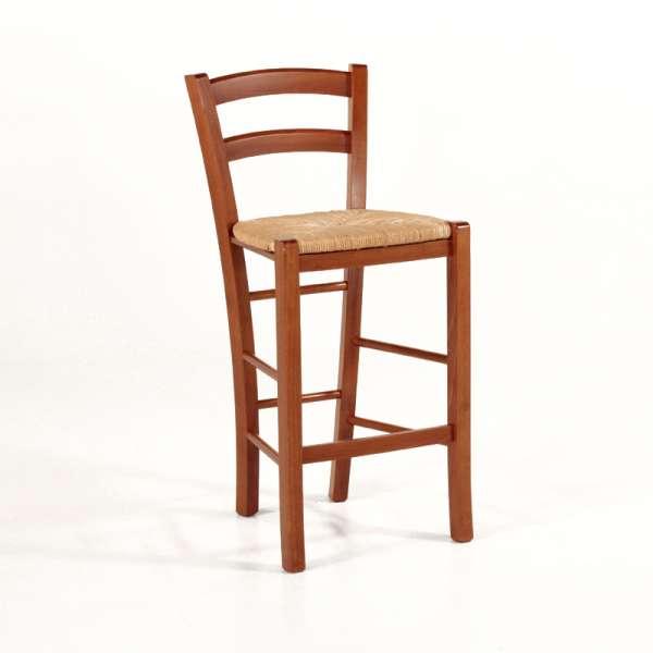 Tabouret snack en bois massif teinté merisier rustique et assise en paille - Brocéliande - 1