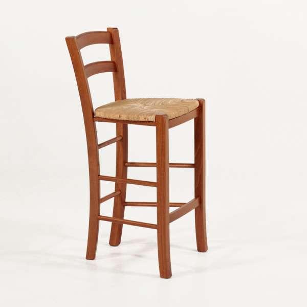 Tabouret hauteur 65 cm en bois massif rustique teinté merisier et assise en paille - Brocéliande - 2