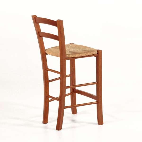Tabouret snack en bois massif merisier et assise en paille - Brocéliande - 3
