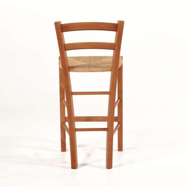 Tabouret snack en bois massif teinté chêne moyen rustique et assise en paille - Brocéliande - 9
