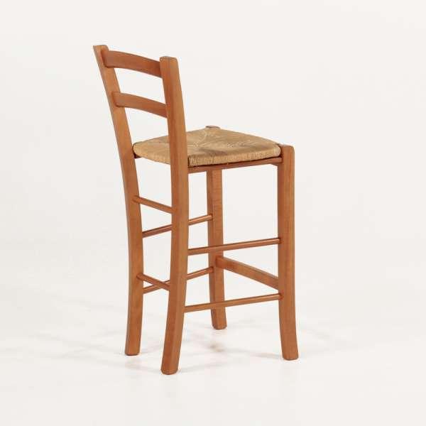 Tabouret snack paysan en bois massif rustique et assise en paille - Brocéliande - 8