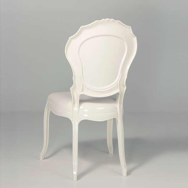 Chaise style Louis 15 blanche opaque - Belle Époque - 5
