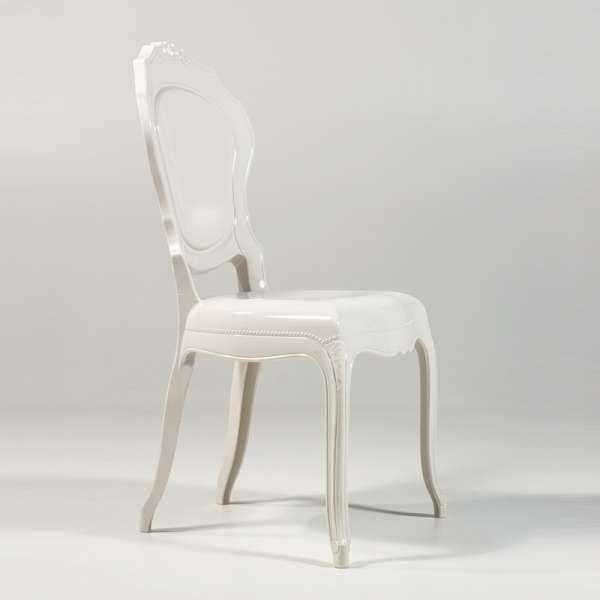 Chaise Louis 15 modernisée en polycarbonate opaque blanc - Belle Époque - 3