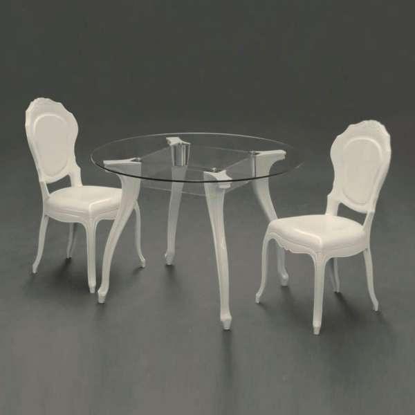 Chaise régence modernisée en polycarbonate opaque blanc - Belle Époque - 6
