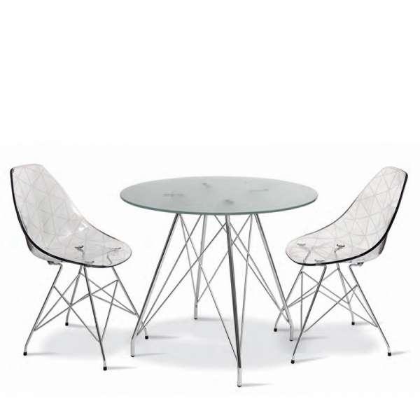 Table ronde en verre transparent et pieds eiffel chromés pour 4 personnes - Glamour - 8