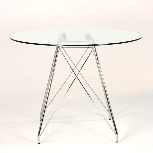 Petite table design ronde en verre transparent et pieds eiffel chromés - Glamour - 4