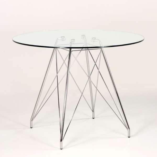 Table ronde 4 personnes en verre transparent et pieds eiffel chromés - Glamour - 3