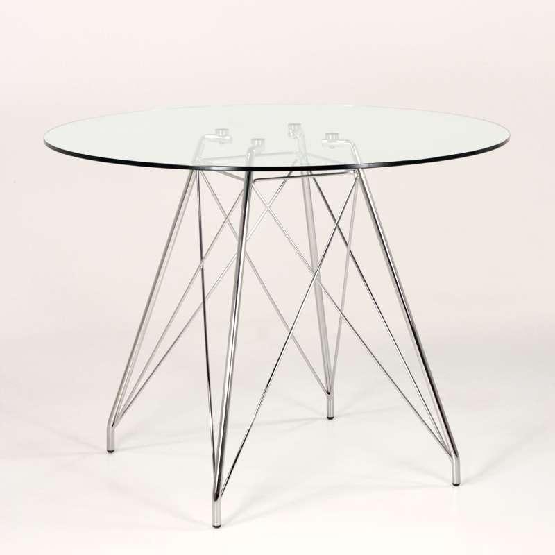 Table Ronde En Verre Design 4 Chaises: Petite Table Ronde Design En Verre Transparent Avec Pieds