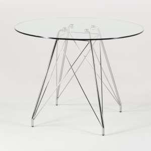 Petite table ronde design en verre transparent et pieds eiffel chromés - Glamour