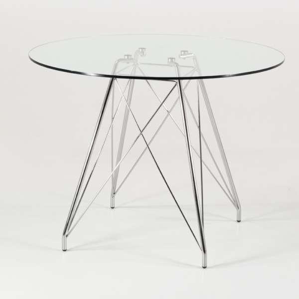 Petite table ronde design en verre transparent et pieds eiffel chromés - Glamour - 1