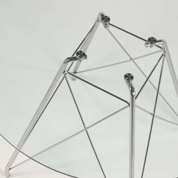 Table en verre transparent et pieds eiffel chromés - Glamour - 7