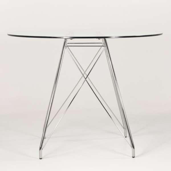 Petite table ronde 4 personnes en verre transparent et pieds eiffel chromés - Glamour - 2