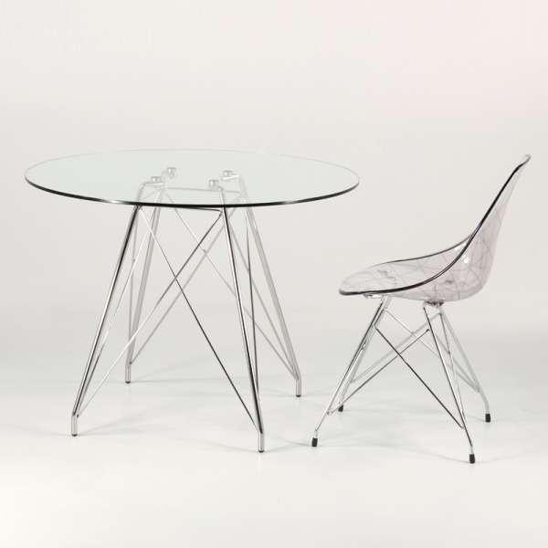 Petite table design en verre transparent et pieds eiffel chromés - Glamour - 5