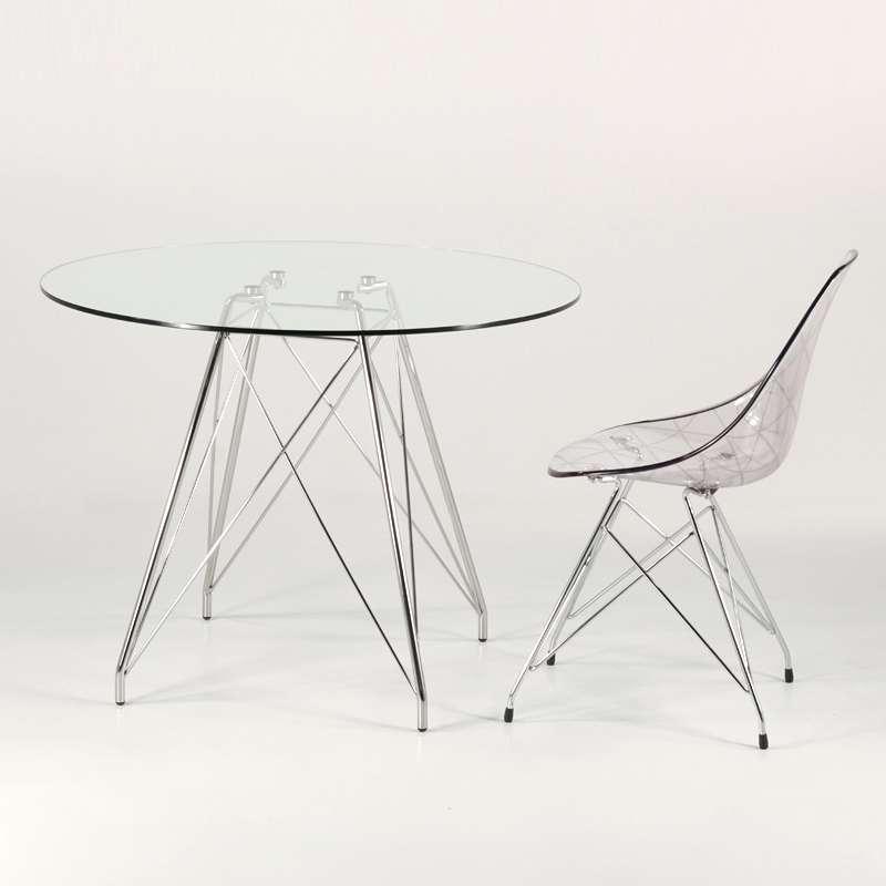 Ronde Design Pieds Petite Transparent En Verre Avec Chromés Eiffel Table Glamour kPZiuXTO