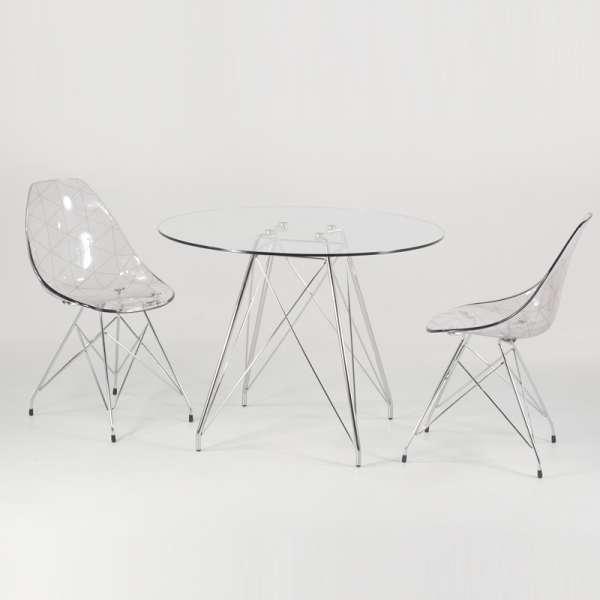 Table ronde en verre transparent et pieds eiffel chromés - Glamour - 6