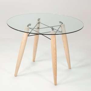 Table ronde moderne en verre transparent avec pieds en bois en frêne blanchi - Souvenir