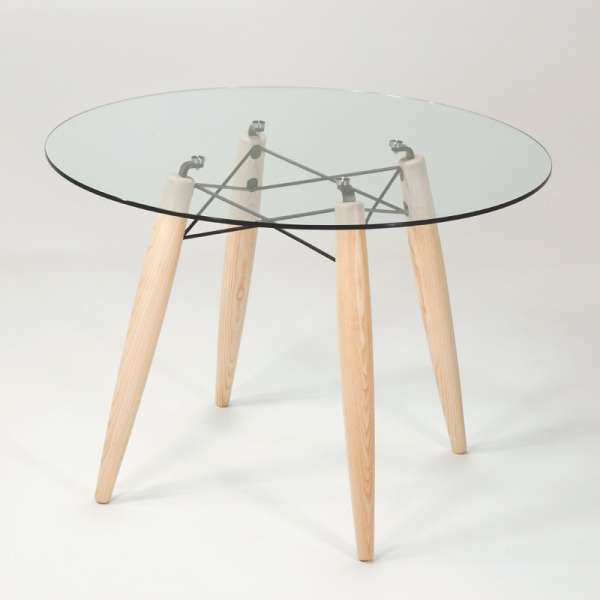 Table ronde moderne en verre transparent avec pieds en bois en frêne blanchi - Souvenir - 1
