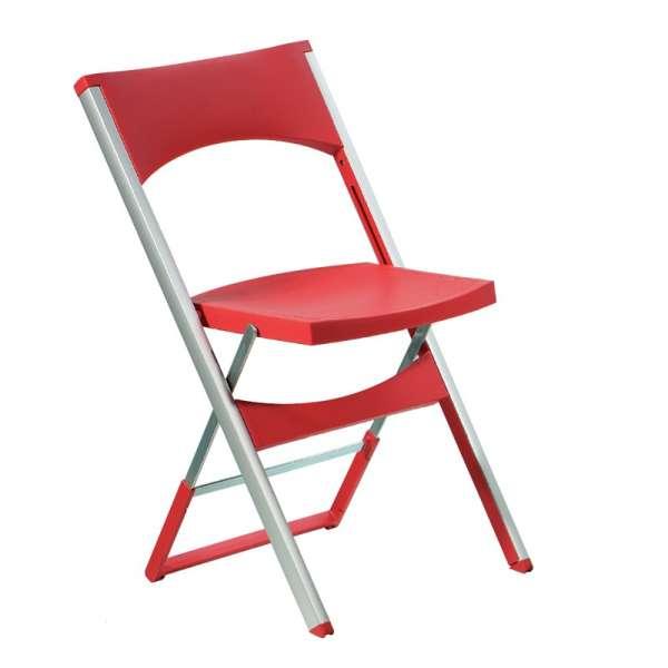 Chaise pliante solide en technopolymère rouge et métal aluminium - Compact - 8