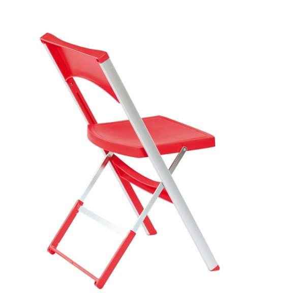 Chaise pliable solide en technopolymère rouge et métal aluminium - Compact - 9