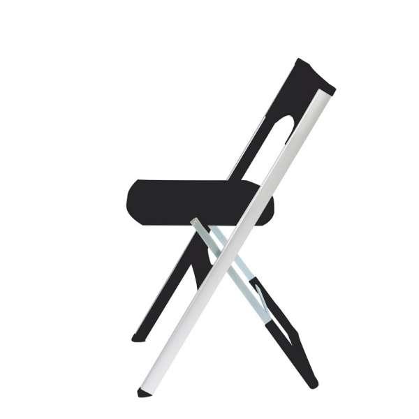 Chaise pliante solide en technopolymère noir et métal aluminium - Compact - 10