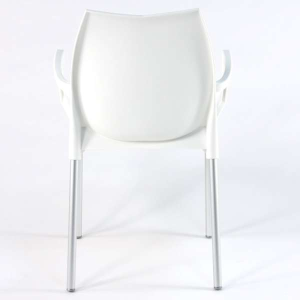 Fauteuil empilable en polypropylène blanc et métal aluminium - Tulip - 9