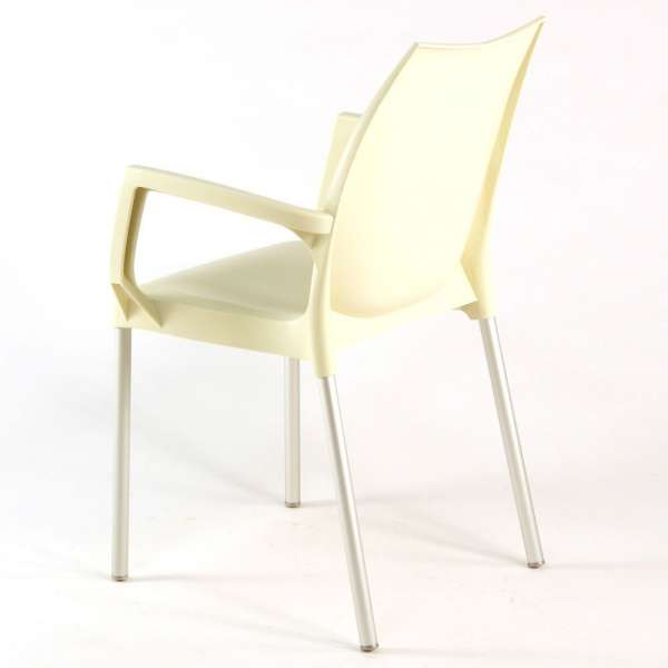 Fauteuil en plastique beige et métal alu - Tulip - 16