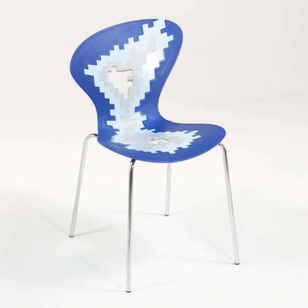 Chaise multicolore de designer avec motifs déstructurés empilable - Big Bang - 2