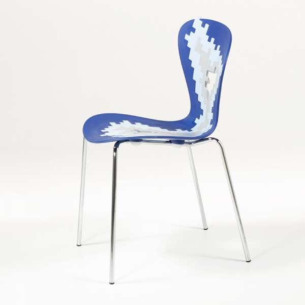 Chaise design multicolore  empilable avec motifs déstructurés - Big Bang - 5