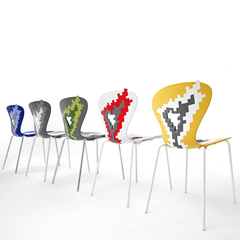 Empilable Motifs Déstructurés Bang Big Chaise Multicolore De Designer Avec SGqUzMVp