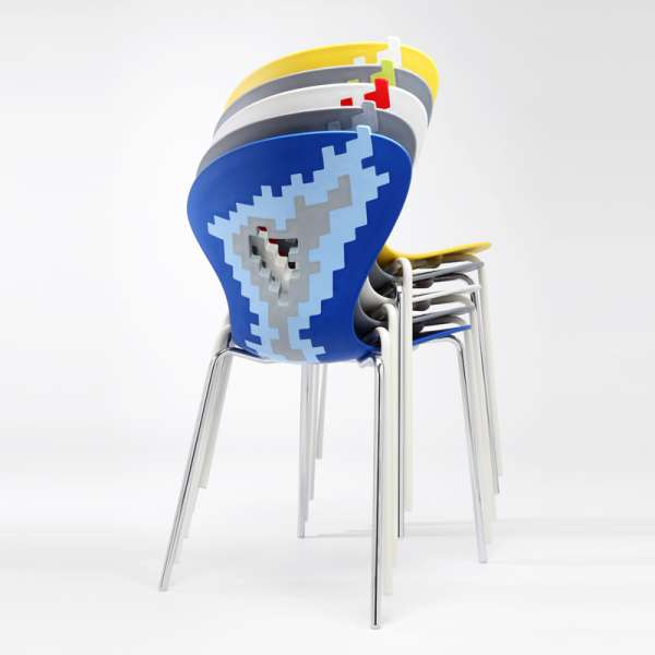 Siège multicolore design empilable avec motifs déstructurés - Big Bang - 11