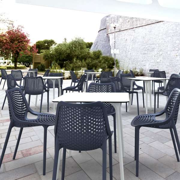 Chaise de jardin moderne ajourée en polypropylène gris foncé - Air - 9