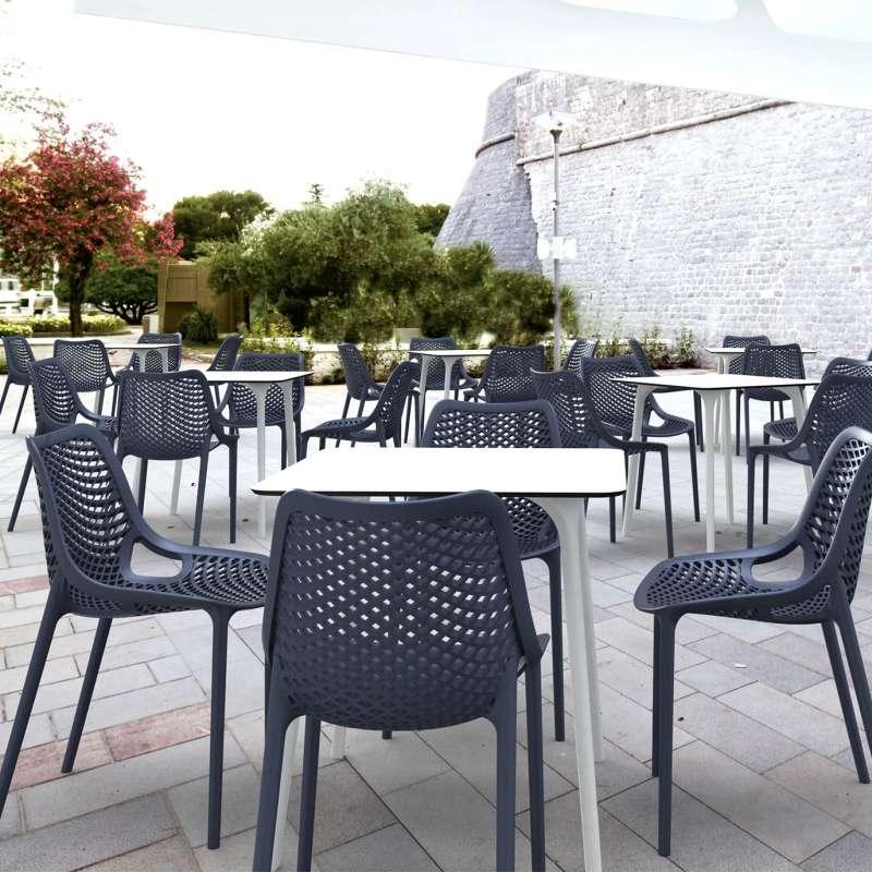 ... Chaise De Jardin Moderne Ajourée En Polypropylène Gris Foncé   Air   9