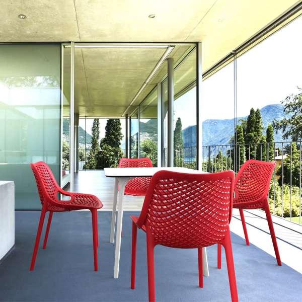 Chaise de jardin moderne ajourée en plastique rouge - Air - 10