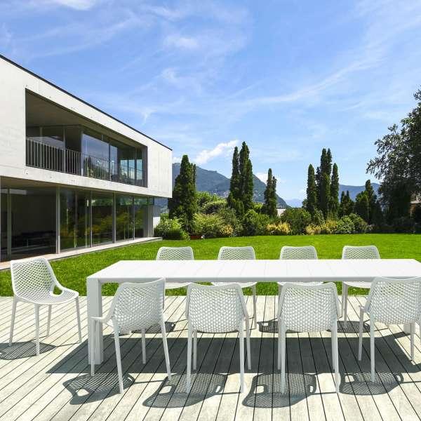 Chaise de jardin moderne ajourée en polypropylène blanc - Air - 11