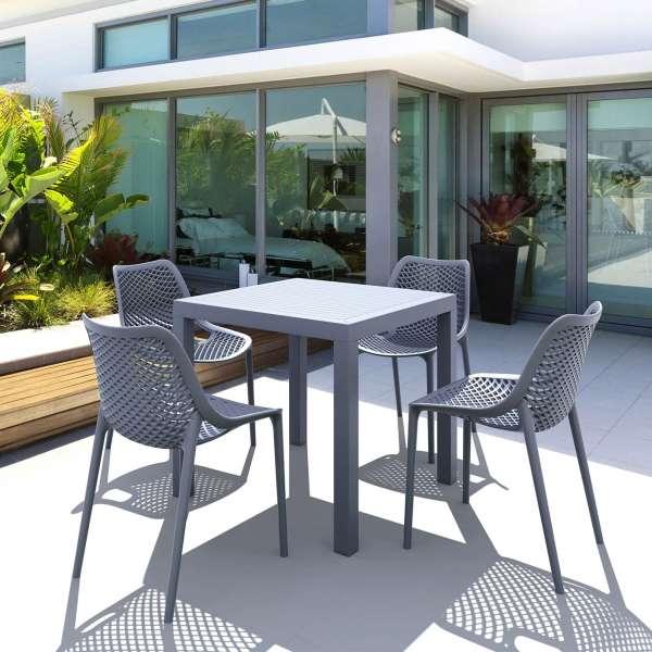 Chaise de jardin moderne ajourée en polypropylène gris foncé - Air - 12