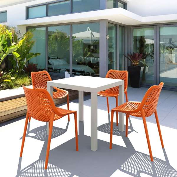 Chaise de jardin moderne ajourée en polypropylène orange - Air - 13