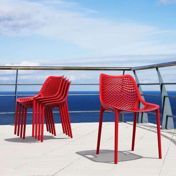 Chaise de jardin moderne ajourée en plastique rouge - Air - 16
