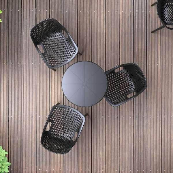 Chaise de jardin moderne ajourée en polypropylène noir - Air - 15
