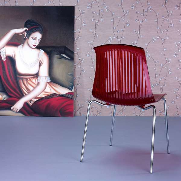 Chaise moderne en polycarbonate rouge transparent - Allegra - 24